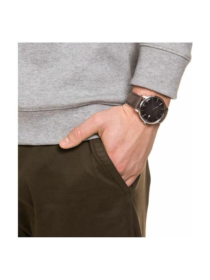 Quarzuhr für Herren, Edelstahl mit Lederband, braun, Chronograph