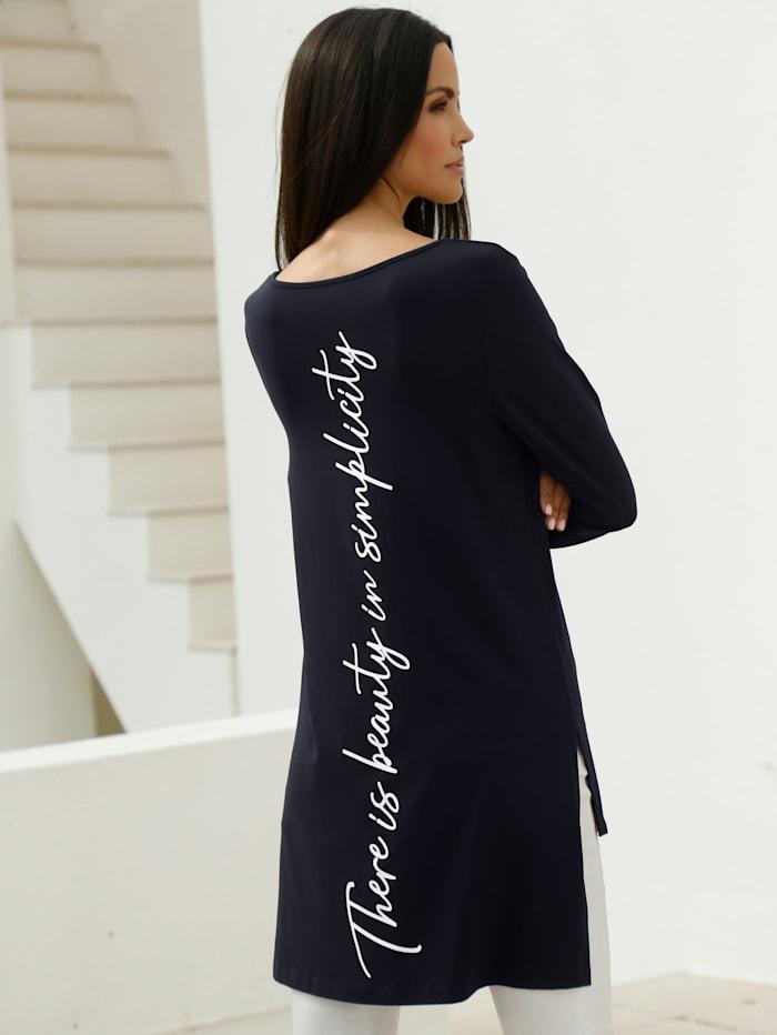 AMY VERMONT Longshirt mit Schriftzug im Vorder- und Rückteil, Marineblau/Weiß