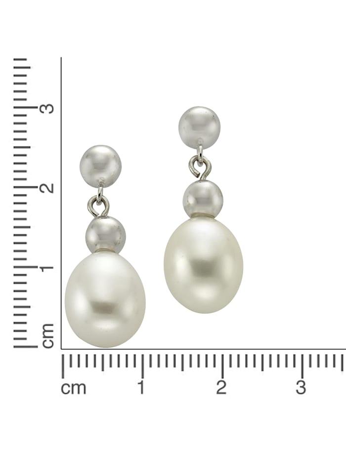 Ohrhänger 925/- Sterling Silber Süßwasserzuchtperle 2,6cm Rhodiniert 925/- Sterling Silber