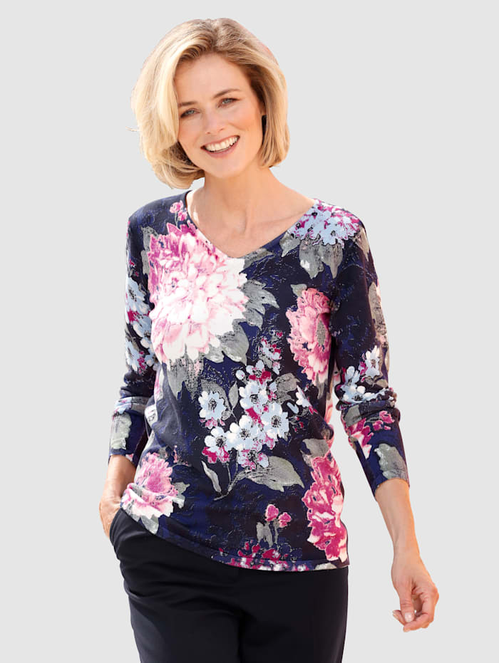 Paola Knit Jumper Beautiful flower print, Navy