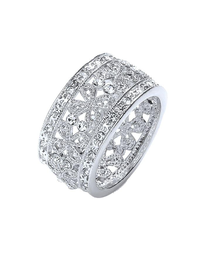 Buckley Ring rhodiniert mit Kristallen Messing Kristall weiß Glänzend Messing, Silbergrau