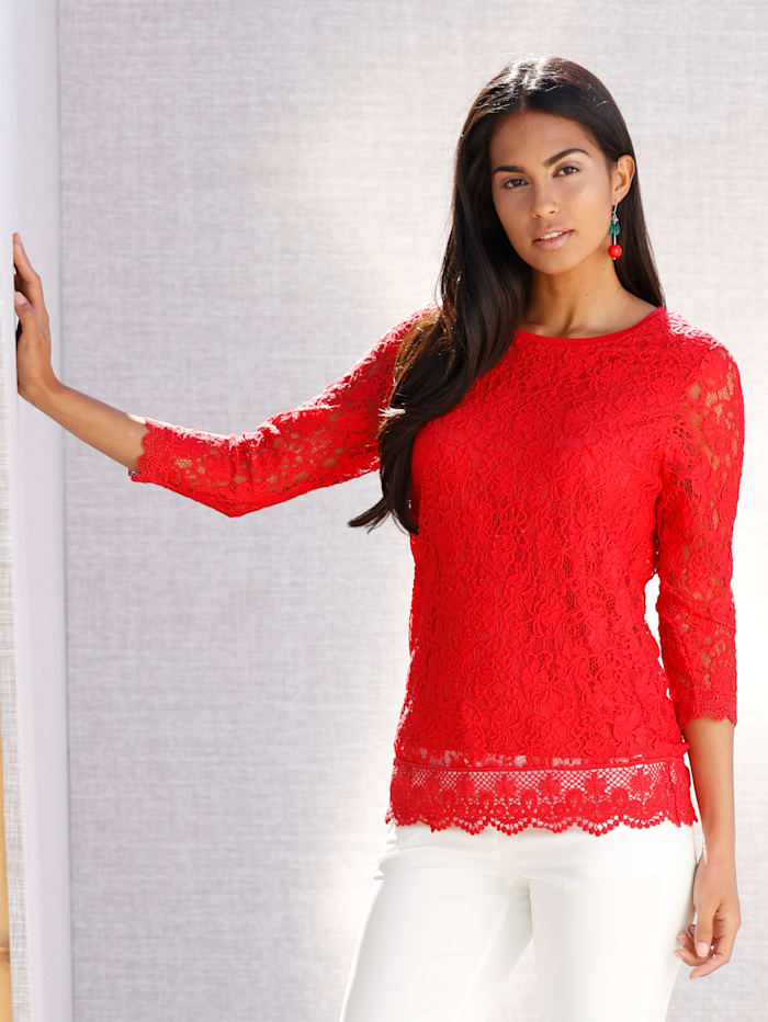 AMY VERMONT Shirt aus Spitze, Rot