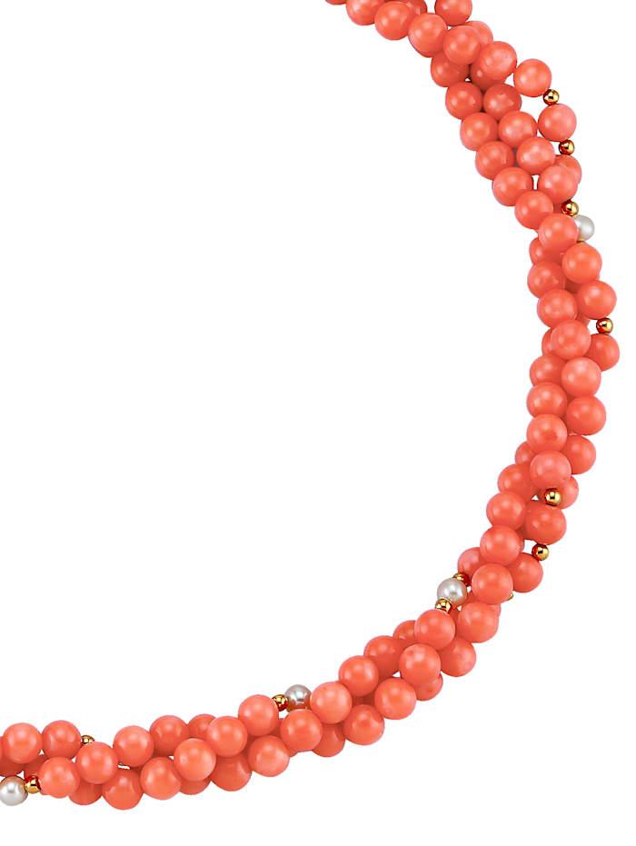 Amara Pierres colorées Collier en corail à 3 rangées, Corail