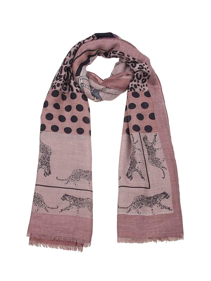 Leslii Schal mit ausgefallenem Leoparden-Print, braun-rosa