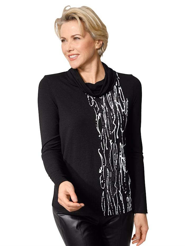 MONA Shirt met losjesvallende col, Zwart/Wit