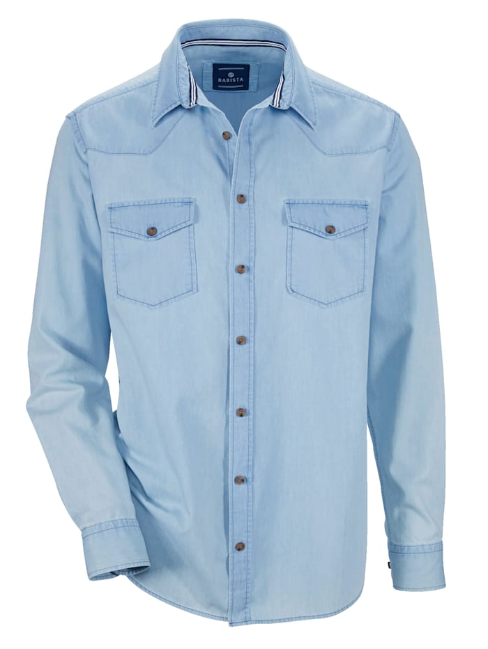 Jeansskjorte med myk overflate