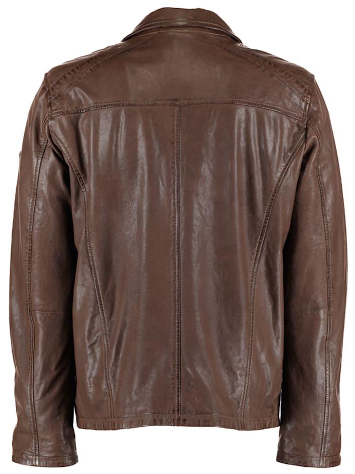 Herren Lederjacke mit Taschen und Reißverschluss
