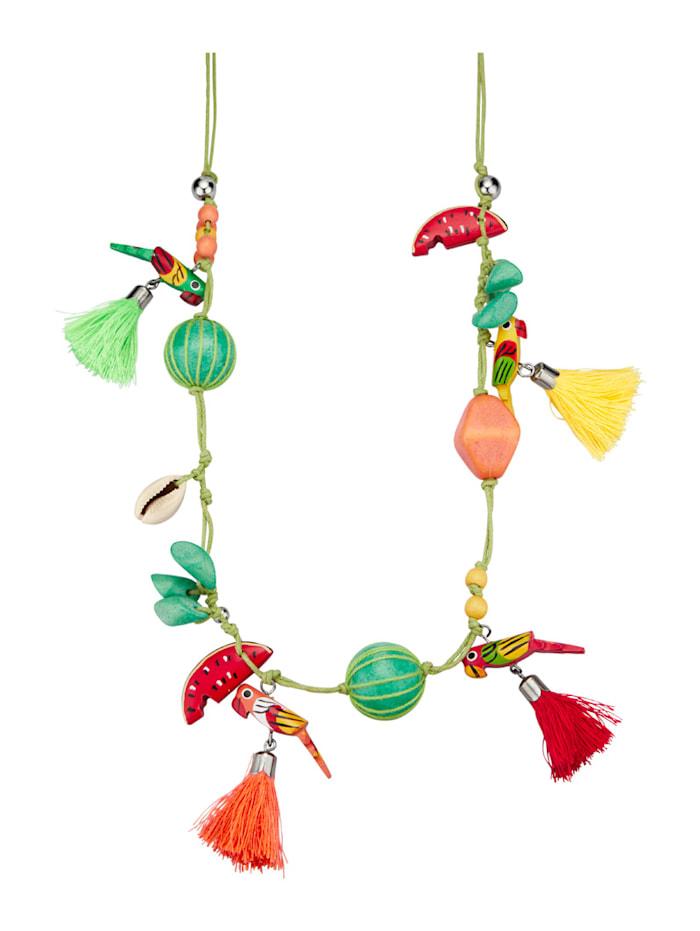 Halskette mit Holz, Multicolor