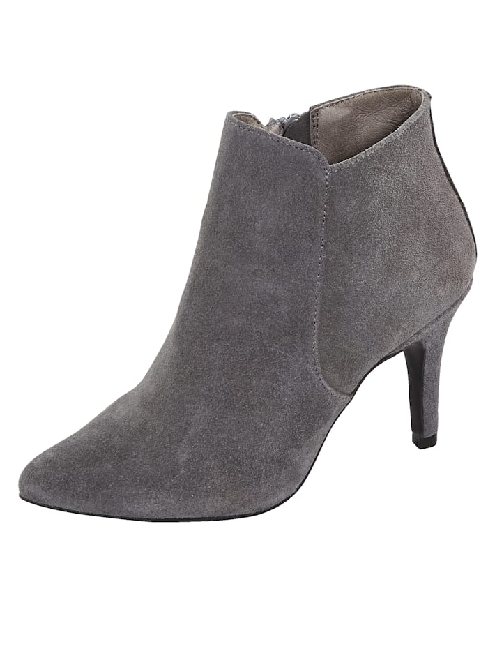 Ankle boots made from premium suede leather, Grey