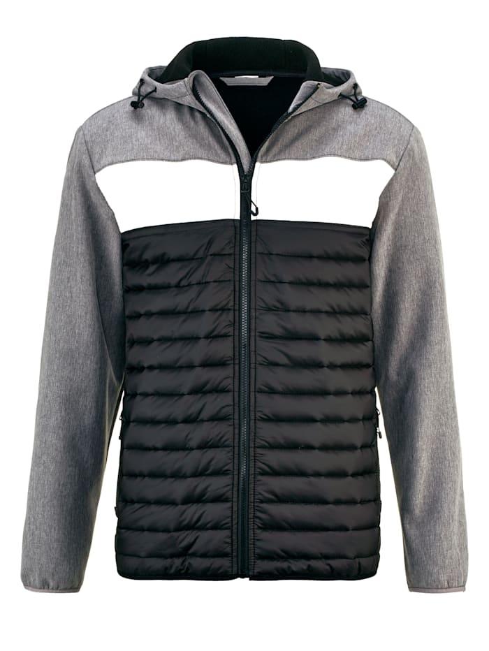 BABISTA Jacke mit größenverstellbarer Kapuze, Schwarz/Grau