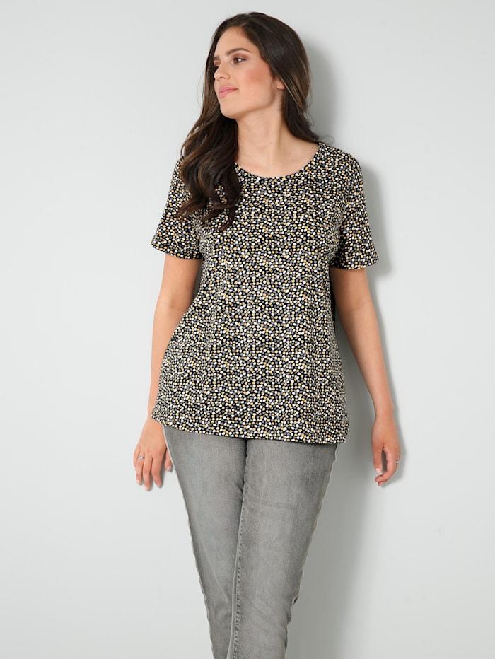 Janet & Joyce Shirt aus reiner Baumwolle, Weiß/Schwarz/Ockergelb