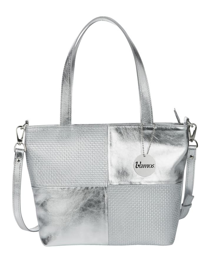 Vamos Handtasche mit zwei Tragevarianten, silberfarben-kombi