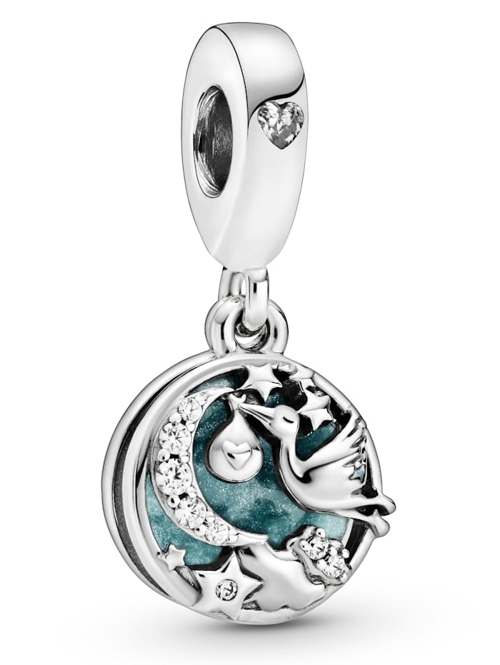 Pandora Charm-Anhänger - Storch und Funkelnde Sterne - 798895C01, Silberfarben
