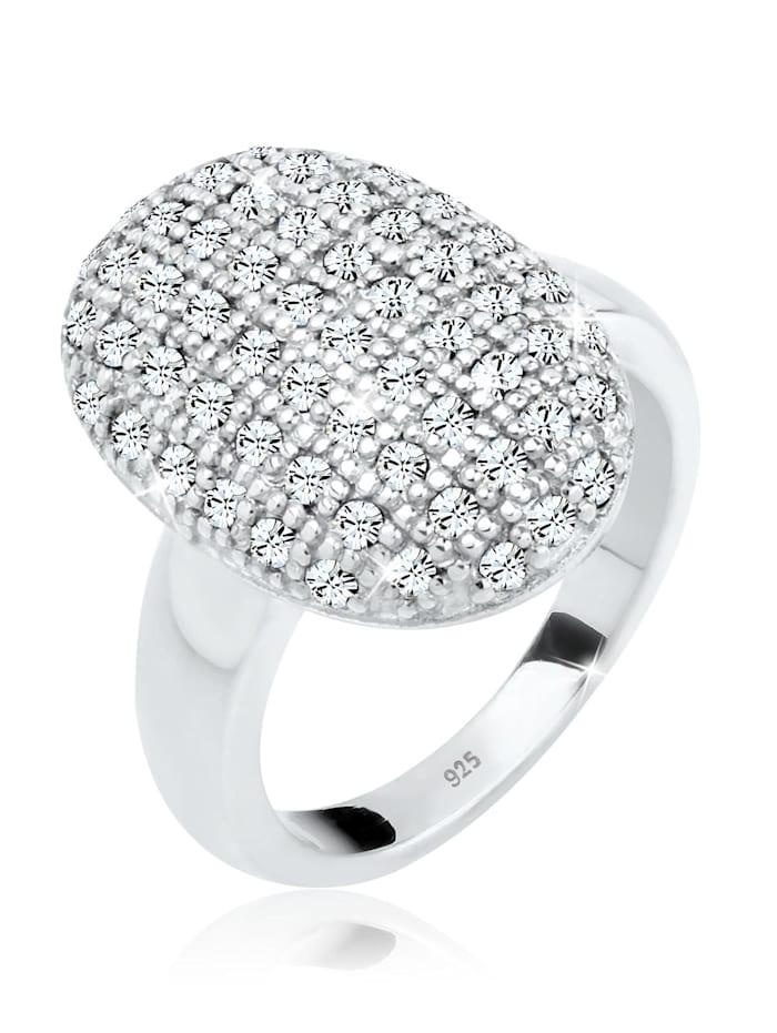 Elli Premium Ring Cocktailring Kristalle 925 Silber, Weiß