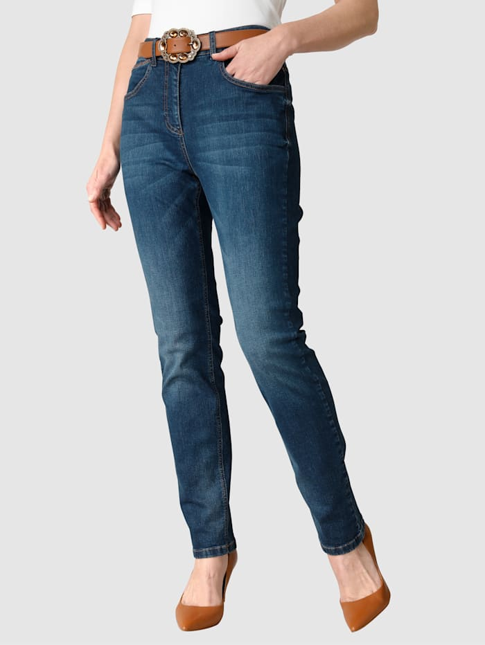 MONA Jeans met washed effect, Blauw