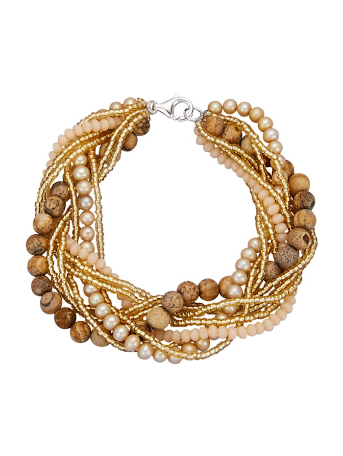 Bracelet avec perles de culture d'eau douce, Marron