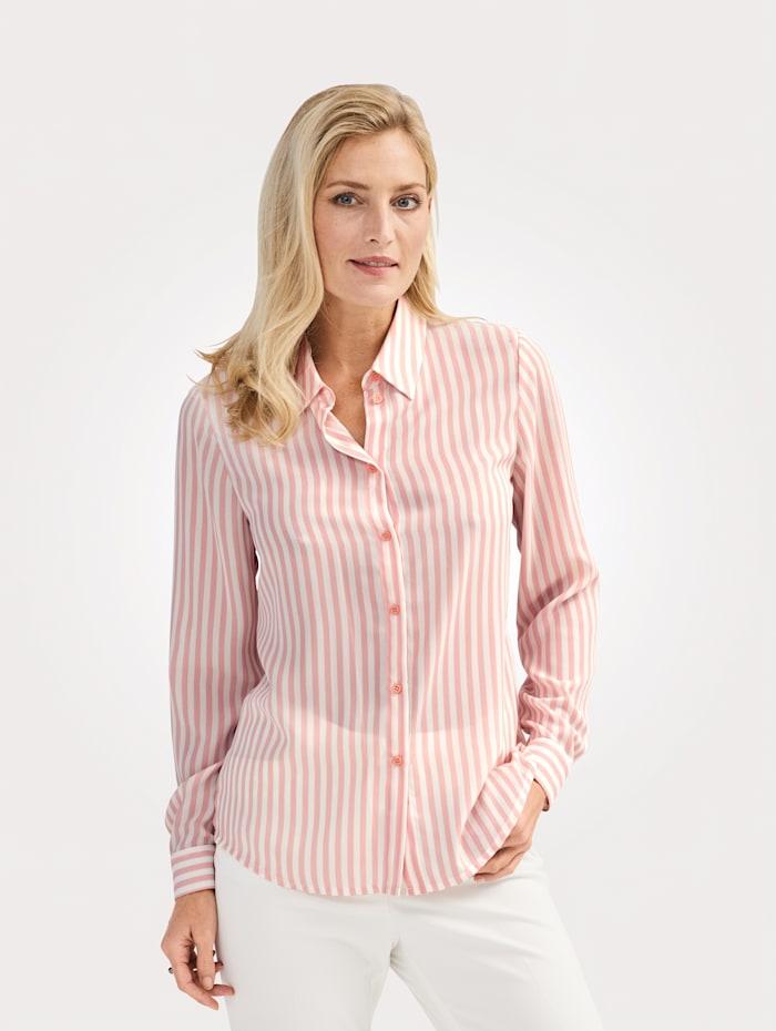 MONA Bluse mit Streifen-Dessin, Rosé/Ecru