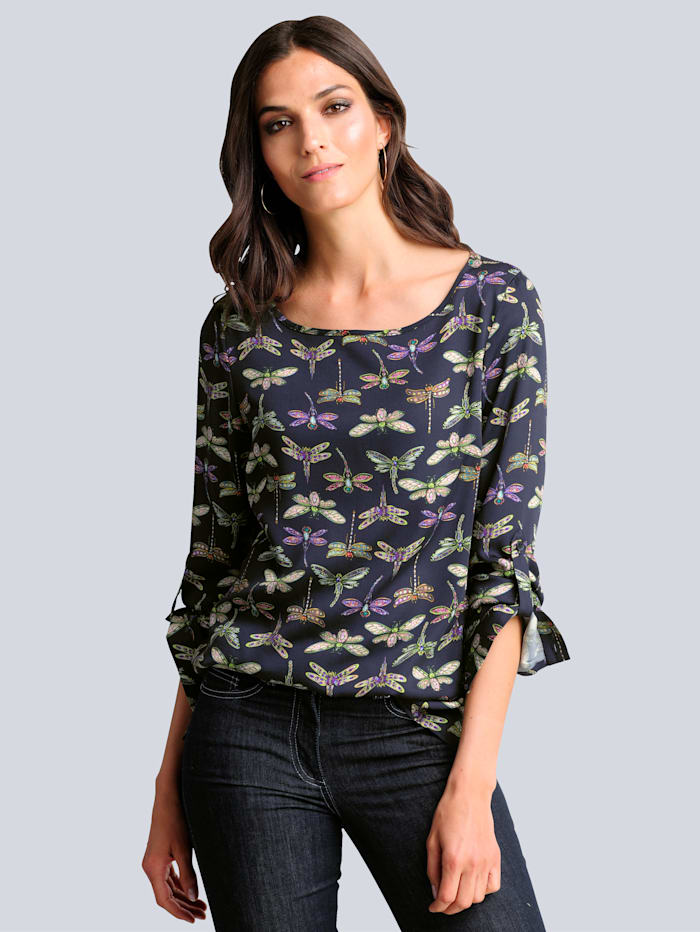 Alba Moda Blouse met contrastkleurige print, Marine/Groen
