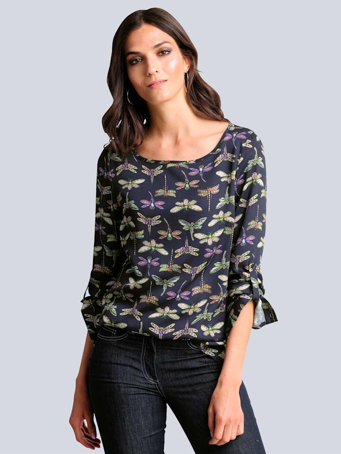 Alba Moda Bluse mit kontrastfarbigem Druck, Marineblau/Grün