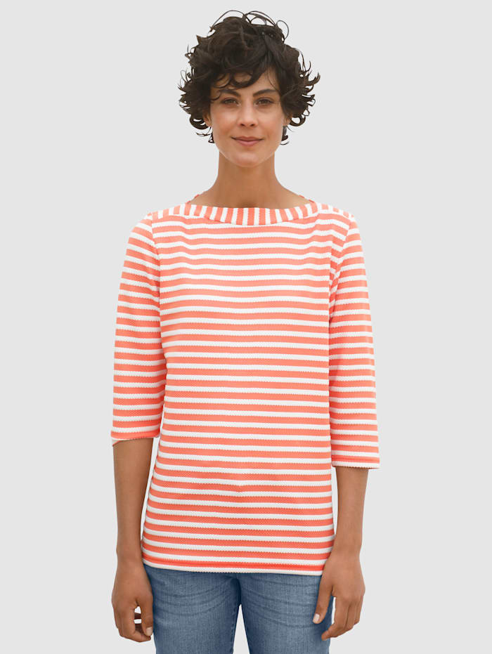 Dress In Sweat-shirt avec rayures structurées, Abricot/Blanc