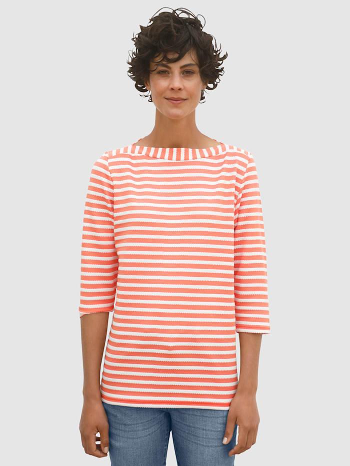 Dress In Sweatshirt med strukturstickade ränder, Aprikos/Vit