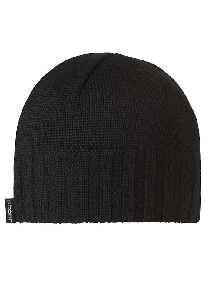 Stöhr ROGG - Mütze mit WINDSTOPPER(R) Material im Stirnbereich, kuschelig warm, schwarz