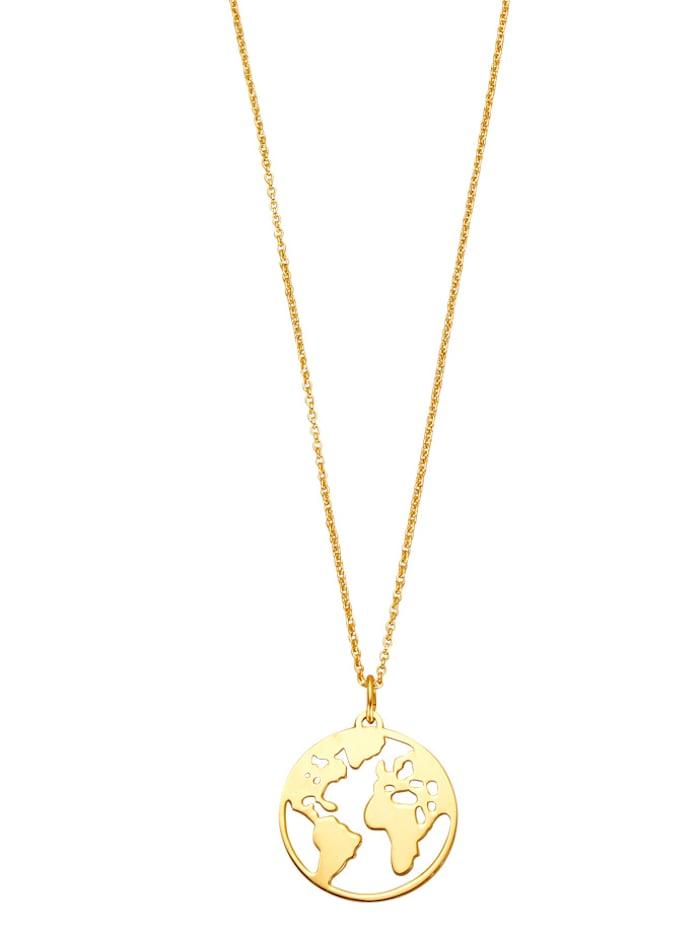 Welt-Anhänger mit Kette aus Silber 925 vergoldet