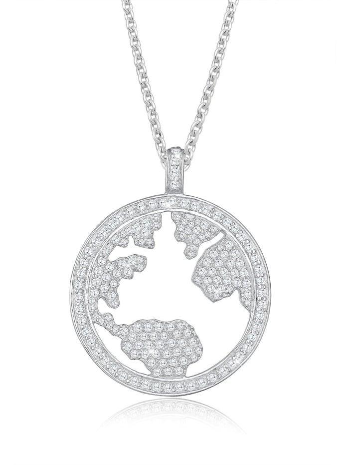 Elli Premium Halskette Welt Zirkonia Swarovski® Kristalle 925 Silber, Weiß