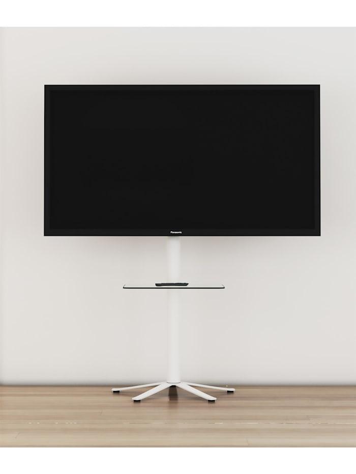 VCM TV Standfuß Alu Xila mit Glas Zwischenboden, Weiß