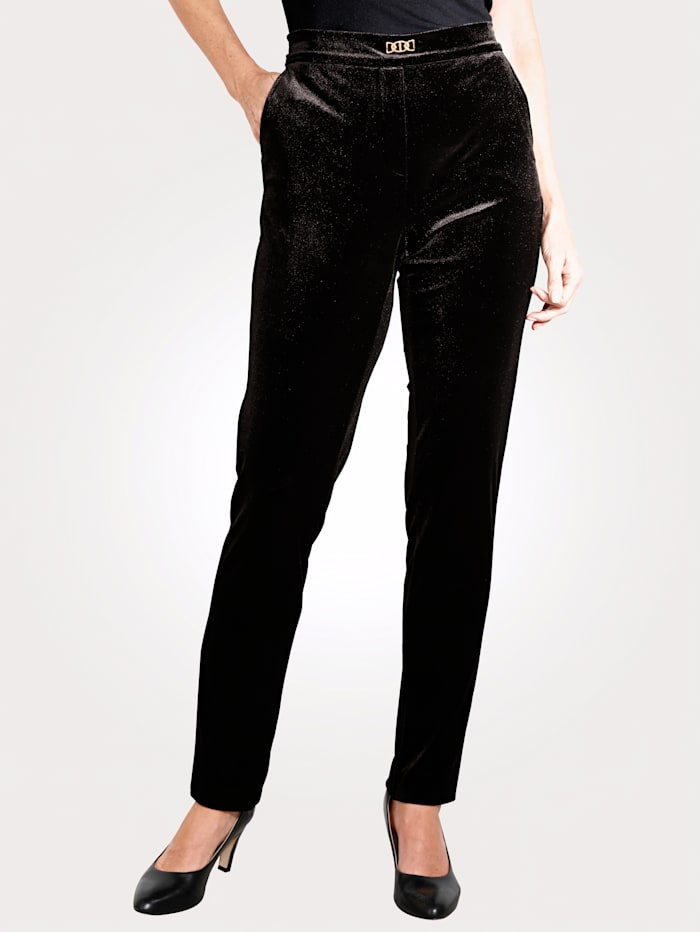 MONA Pantalon en matière velours, Noir