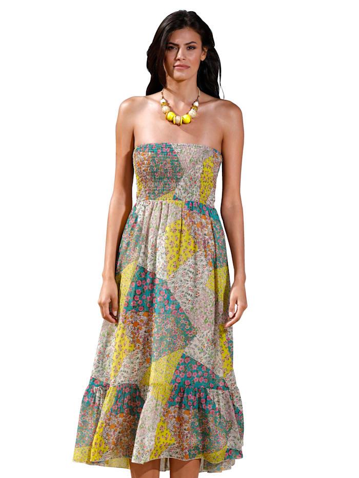 AMY VERMONT Kleid mit Blümchen-Druck, Gelb/Weiß/Grün/Rosé