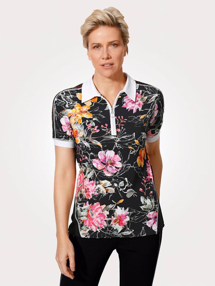 MONA Poloshirt mit Streifennetz- Einsätzen, Schwarz/Pink/Orange