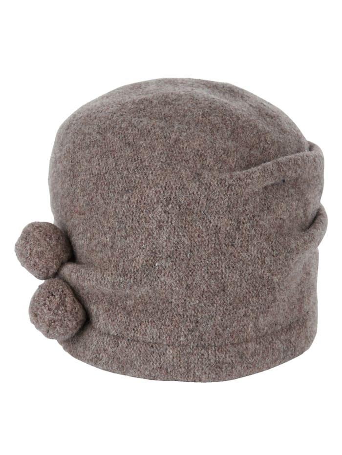 Seeberger Chapeau en laine avec pompons décoratifs, Noisette