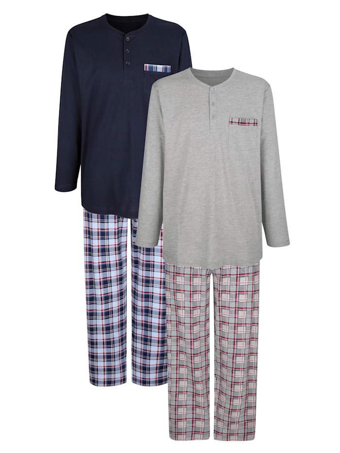 Schlafanzug im 2er-Pack, Marineblau/Hellblau