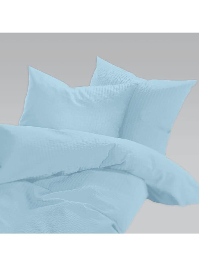 Schlafgut Uni Seersucker Bettwäsche bügelfrei aqua, aqua