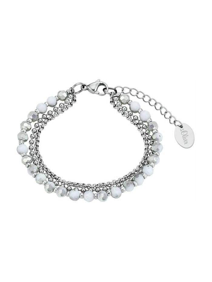 s.Oliver Mehrreihige Gliederarmkette für Damen, Edelstahl, Glas, Silber