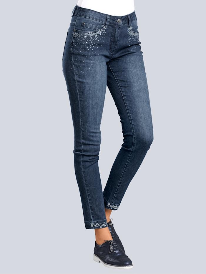 Alba Moda Jeans mit Strassapplikation, Blau
