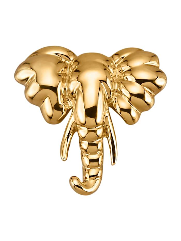 Elefanten-Anhänger in Gelbgold 375, Gelbgoldfarben
