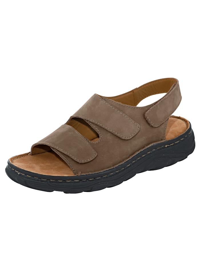 Naturläufer Sandale mit variablen Klettriegeln, Braun