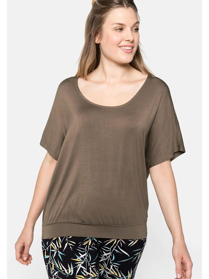 Sheego Strandshirt in legerer Form mit Häkeleinsatz, dunkeltaupe