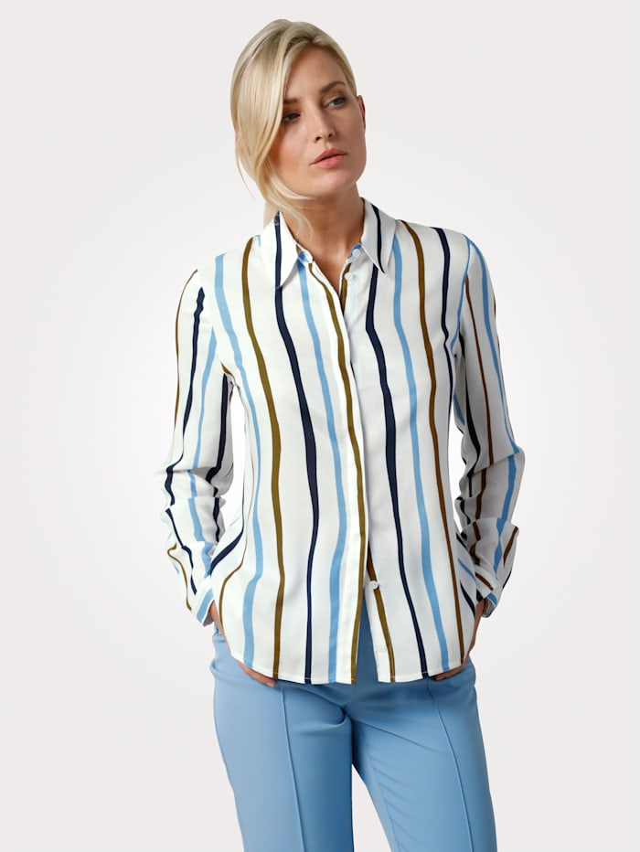 MONA Bluse aus reiner Viskose, Off-white/Hellblau
