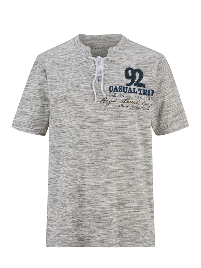 BABISTA T-shirt à col original, Blanc/Gris