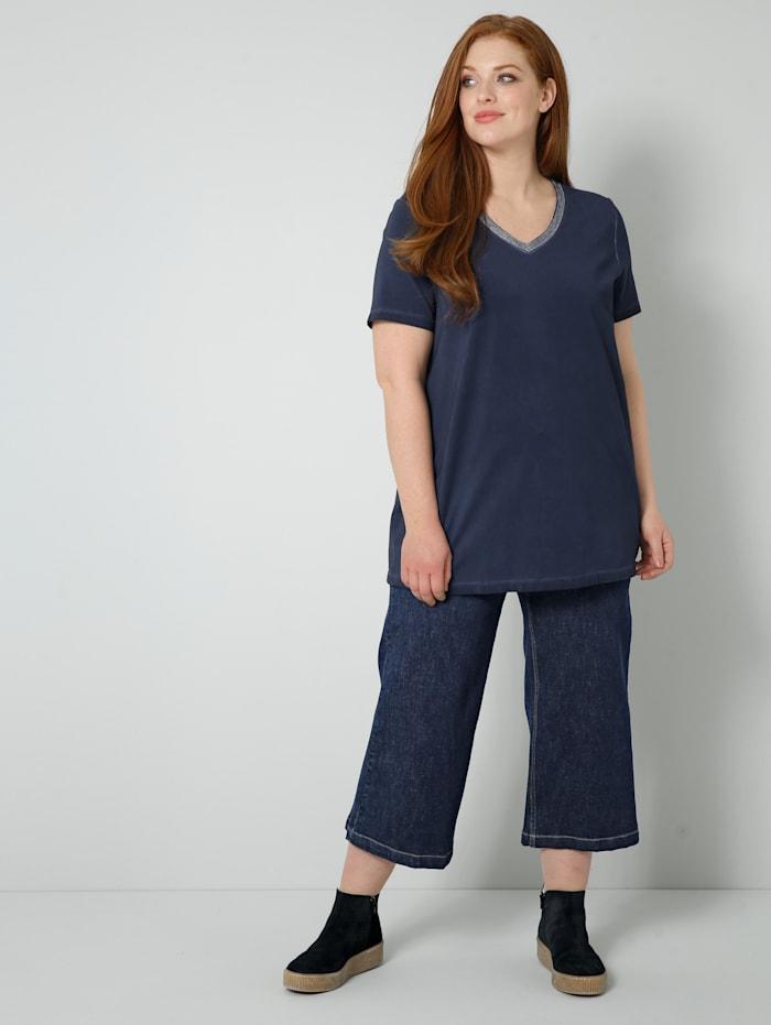 Sara Lindholm Jeans av lätt elastiskt denimmaterial, Dark blue