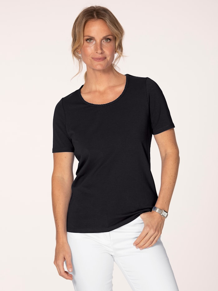 MONA Shirt met Pima-katoen, Zwart