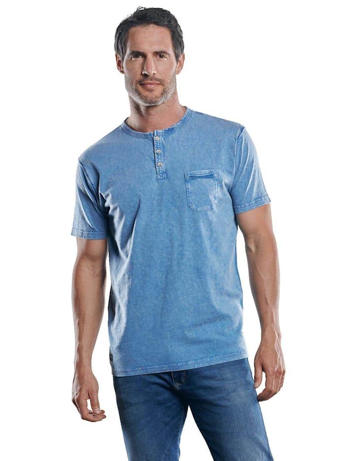 Engbers Frisch gefärbtes Henley T-Shirt, Taubenblau