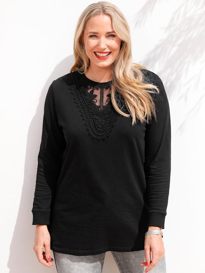 MIAMODA Sweatshirt met modieus kant, Zwart