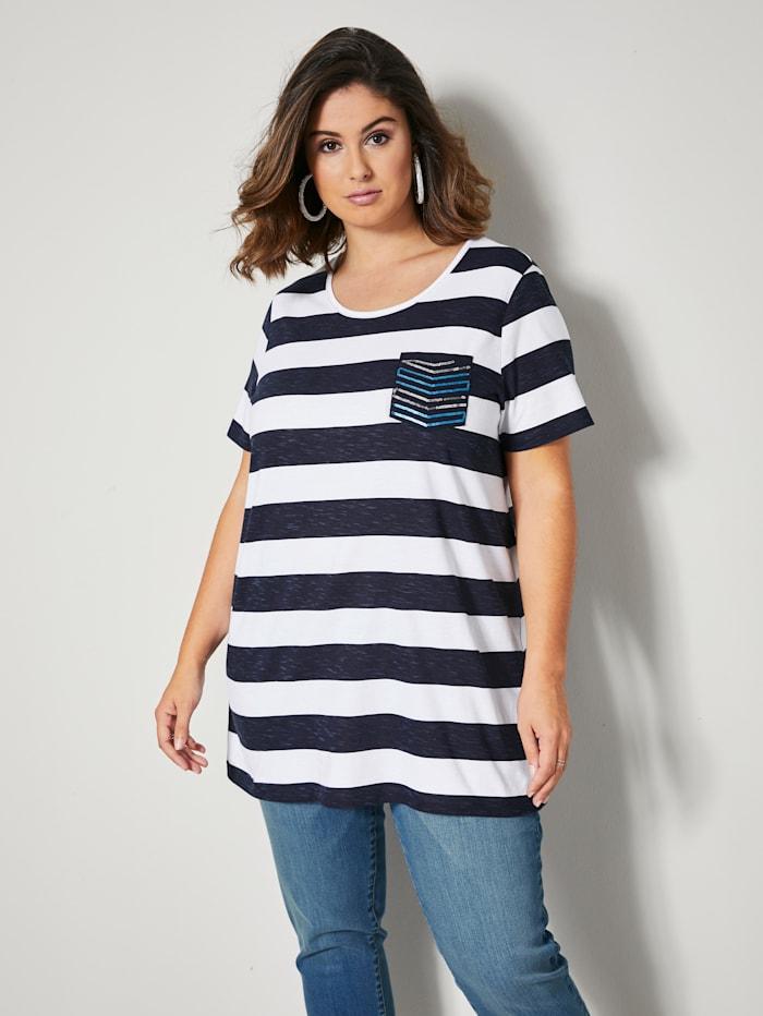 Sara Lindholm T-shirt long avec paillettes, Marine/Blanc