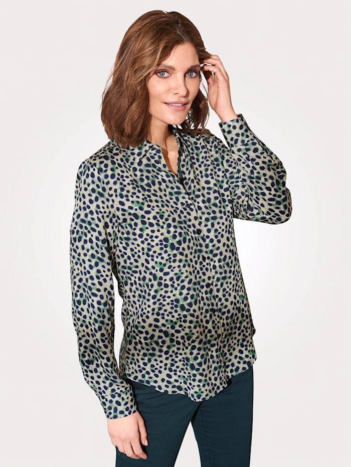 ERFO Bluse aus reiner Viskose, Grün/Marineblau