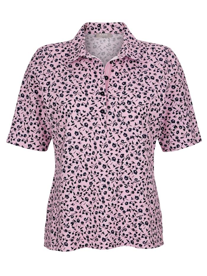 Poloshirt mit floralem Druckdessin