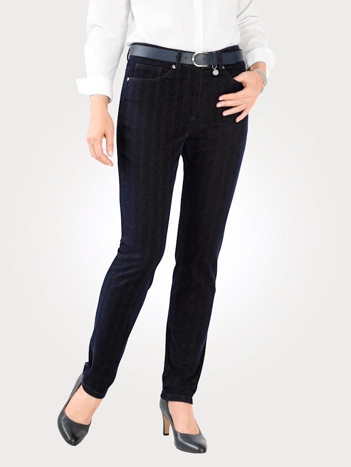 MONA Trousers with a herringbone print, Blue